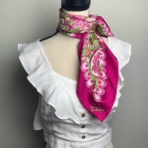 Lilly Pulitzer Pink Paisley Silk Scarf
